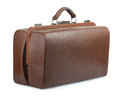 Vintage luggage bag brown leather old isolated on white Royalty Free Stock Images
