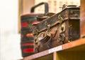 Vintage luggage leather on shelf Royalty Free Stock Photo