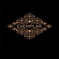 Vintage Luxury Antique Art Deco Monochrome Gold Flourishes Monogram. Ornamental Emblem. Template logo