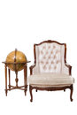 Vintage luxury armchair and globe Royalty Free Stock Image