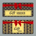 Vintage Luxury Golden Ornate Gift Voucher with Red Bow and Ribbon Template Royalty Free Stock Photo