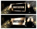 Vintage Luxury Golden Ornate Invitation with Palm Leaf and Glasses of Champagne Template Vector Illutsration Royalty Free Stock Photo