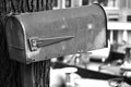 Vintage mailbox in black and white Royalty Free Stock Image