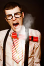 Vintage Male Business Dork Under Explosive Stress Royalty Free Stock Photo