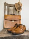 Vintage male cloth fashion bag shoes hat accessories Royalty Free Stock Image