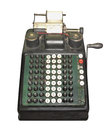 Vintage manual adding machine isolated hand crank on white Royalty Free Stock Photography
