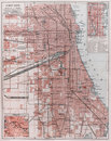 Vintage map of Chicago Royalty Free Stock Photo