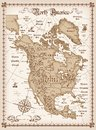 Vintage map of north america vector illustration Royalty Free Stock Photography