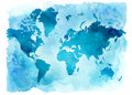 Vintage map of the world on a blue background. Watercolor illustration. Royalty Free Stock Photo