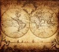 Vintage map of the world 1733 Royalty Free Stock Photo
