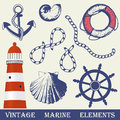 Vintage marine elements set. Royalty Free Stock Photo