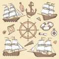 Vintage marine ships. Old cartouche frame, ship anchor and sea wheel with ancient compass. Ocean sailboat retro vector