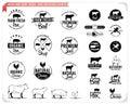 Vintage meat logos, badges, labels and design elements
