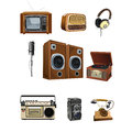 Vintage media stuff icons a vector illustration of icon sets Royalty Free Stock Photos