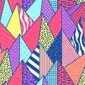 Vintage Memphis Style Geometric Fashion Seamless Pattern with Triangles. Abstract Shapes Background for Textile