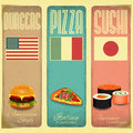 Vintage menu set of vertical card for fast food pizzeria and sushi in retro style illustration Royalty Free Stock Image