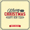 Vintage merry christmas and happy new year card lettering style vector illustration Royalty Free Stock Photo