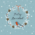 Vintage Merry Christmas , Spanish Feliz Navidad greeting card, invitation. Wreath made of evergreen branches, berries. Vector Royalty Free Stock Photo