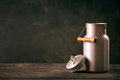 Vintage metal milk can with lid Royalty Free Stock Photo