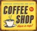 Vintage metal sign - Coffee Shop