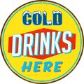 Vintage Metal Sign - Cold Drinks Here. Royalty Free Stock Photo