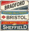 Vintage metal signs collection with UK cities Royalty Free Stock Photo