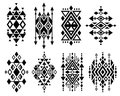 Vintage mexican aztec tribal traditional vector logo design, navajo prints set