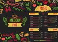 Vintage Mexican Food menu with lettering. Royalty Free Stock Photo