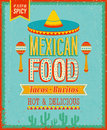 Vintage mexican food poster vector illustration Royalty Free Stock Photo