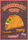 Vintage mexican tacos poster or flyer template crumpled paper effects can be easily removed vector illustration Stock Photography