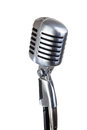 Vintage microphone isolated on white Royalty Free Stock Photo