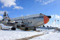 Vintage military airplane in the snow Stock Image