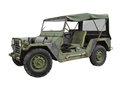 Vintage military jeep isolated with canopy on white Royalty Free Stock Image