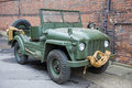 Vintage military vehicle green open top Stock Photo