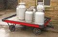 Vintage Milk Churns. Royalty Free Stock Photo