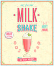 Vintage milkshake poster vector illustration Royalty Free Stock Image