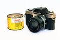 Vintage Minolta XE-5 camera and Kodak Dektol Royalty Free Stock Photo