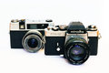 Vintage Minolta XE-5 and Taron camera Royalty Free Stock Photo