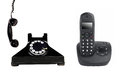 Vintage and modern phone Royalty Free Stock Photo