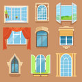 Vintage and modern windows set in different styles and forms. Window frames exterior view