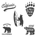 Vintage monochrome california badges and design vector elements for t shirt print typography illustrations republic Royalty Free Stock Photos