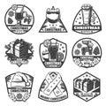 Vintage Monochrome Christmas Menu Labels Set Royalty Free Stock Photo