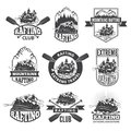 Vintage monochrome labels for dangerous water sports. Symbols of rafting. Pictures of kayak Royalty Free Stock Photo