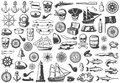 Vintage Monochrome Marine Icons Collection Royalty Free Stock Photo