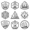 Vintage Monochrome Marine Labels Set Royalty Free Stock Photo