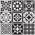 Vintage monochrome repeating tiles. Moroccan mediterranean tiled floor vector patterns
