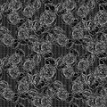 Vintage monochrome roses pattern with lace Royalty Free Stock Photo