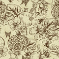 Vintage Monochrome Seamless Background, Tropical