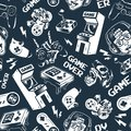 stock image of  Vintage monochrome video game seamless pattern