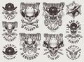 Vintage monochrome wild west labels set